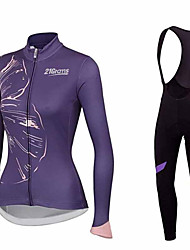 cheap -21Grams Floral Botanical Women's Long Sleeve Cycling Jersey with Bib Tights - Violet Blue Pink Bike Clothing Suit Thermal Warm Breathable Quick Dry Sports Winter Terylene Polyester Taffeta Mountain