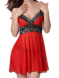 cheap -Women's Lace Mesh Sexy Babydoll & Slips Nightwear Color Block Embroidered Purple / Red S M L