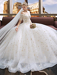 cheap -A-Line / Ball Gown Off Shoulder Floor Length Polyester / Lace / Tulle Half Sleeve Made-To-Measure Wedding Dresses with Embroidery / Lace 2020