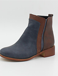 cheap -Women's Boots Block Heel Round Toe Faux Leather Booties / Ankle Boots Vintage / Casual Fall & Winter Black / Brown / Dark Blue / Color Block