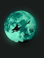 cheap -Luminous Halloween Witch Wall Stickers - Animal Wall Stickers Characters / Animals Study Room / Office / Dining Room / Kitchen/ Bedroom