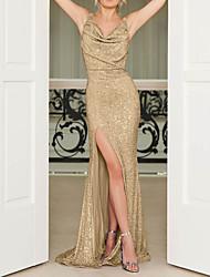 cheap -Sheath / Column Open Back Formal Evening Dress Spaghetti Strap Sleeveless Sweep / Brush Train Polyester with Sequin Split Front 2020
