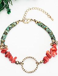 cheap -Women's Red Bead Bracelet Vintage Bracelet Earrings / Bracelet Vintage Style Weave Lucky Vintage Trendy Ethnic Fashion Colorful Stone Bracelet Jewelry Gold For Daily / Loom Bracelet