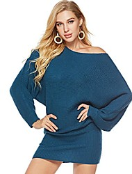 cheap -Women's Solid Colored Long Sleeve Loose Pullover Sweater Jumper, Off Shoulder Black / White / Blue S / M / L