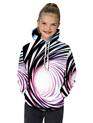 cheap -Kids Toddler Girls' Active Basic Black & White Fantastic Beasts Striped Color Block 3D Print Long Sleeve Hoodie & Sweatshirt Rainbow