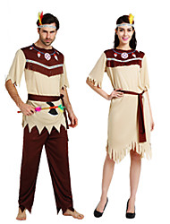 cheap -Primitive Cosplay Costume Outfits Masquerade Kaftan Dress Adults' Couple's Cosplay Halloween Halloween Festival / Holiday Polyster Ivory / Brown Couple's Carnival Costumes