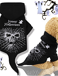 cheap -Dogs Hoodie Spider Dog Clothes Black Costume Pug Poodle Chihuahua Cotton Word / Phrase Skull Cosplay Halloween S M L XL