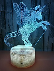 cheap -Unicorn 3D Nightlight For Children Creative Birthday USB 1pc