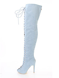 cheap -Women's Boots Over-The-Knee Boots Stiletto Heel Peep Toe Suede / Denim Over The Knee Boots British / Minimalism Spring &  Fall / Winter Light Blue / Dark Blue