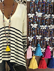 cheap -Women's Pendant Necklace Necklace Long Necklace Long Butterfly Vintage Trendy Ethnic Fashion Cord Stone Black Rose Red Light Blue White Yellow 90 cm Necklace Jewelry 1pc For Daily School Street