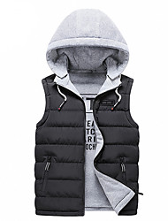 cheap -Men's Daily / Beach Winter Regular Vest, Solid Colored Hooded Sleeveless Cotton / Polyester Black / Wine / Blue