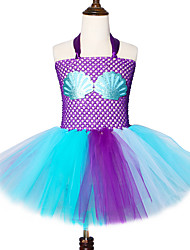 cheap -Girls Mermaid Princess Tutu Dress Seashell Child Costume Under The Sea Girls Outfit