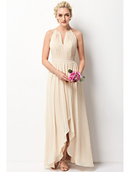 cheap -A-Line Halter Neck Floor Length Chiffon Bridesmaid Dress with Sash / Ribbon / Split Front