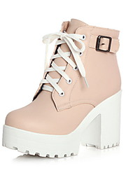 cheap -Women's Boots Chunky Heel Round Toe PU Booties / Ankle Boots Fall & Winter Black / White / Pink