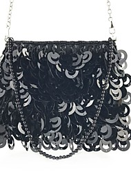 cheap -Women's Sequin / Chain Silk / Cotton Evening Bag Solid Color Black / Sillver Gray / White