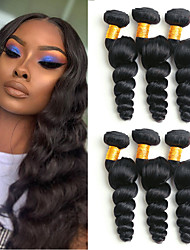 cheap -6 Bundles Malaysian Hair Loose Wave Virgin Human Hair Remy Human Hair Headpiece Natural Color Hair Weaves / Hair Bulk Bundle Hair 8-28 inch Natural Natural Color Human Hair Weaves with Baby Hair Gift