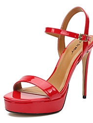 cheap -Women's Sandals Heel Sandals Summer / Fall Stiletto Heel Round Toe Party & Evening Buckle PU Black / Red