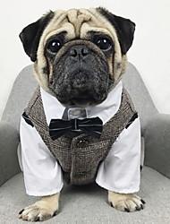 cheap -Dogs Vest Dog Clothes Black Coffee Costume Polyster Plaid / Check Wedding XS S M L XL XXL