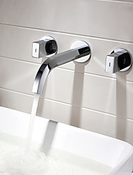 cheap -Bathroom Sink Faucet Square Double Handle Concealed Washbasin Water Mixer Tap Bathroom Chrome Copper In-Wall Basin Faucet