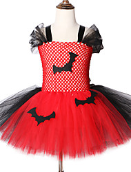 cheap -2-12Years Bat Kids Halloween Costumes for Girls Carnival Party Knee-Length Tulle Tutu Dresses
