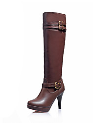 cheap -Women's Boots Knee High Boots Stiletto Heel Round Toe PU Knee High Boots Casual / British Fall & Winter Black / Brown / Almond
