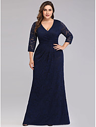 cheap -Sheath / Column V Neck Floor Length Lace Plus Size / Blue Formal Evening / Wedding Guest Dress with Draping / Lace Insert 2020