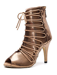 cheap -Women's Dance Shoes Faux Leather Dance Boots Heel Flared Heel Customizable Gold