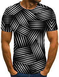 cheap -Men's Weekend Street chic T-shirt - 3D / Animal / Cartoon Black & White, Pleated / Print Black