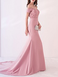 cheap -Mermaid / Trumpet Off Shoulder Court Train Polyester Beautiful Back / Pink Engagement / Formal Evening Dress with Appliques / Pattern / Print 2020