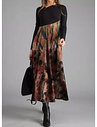 Недорогие -Жен. Элегантный стиль А-силуэт Платье - Геометрический принт Ассиметричное