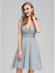 cheap -A-Line Plunging Neck Short / Mini Georgette Bridesmaid Dress with Ruching