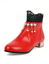 cheap -Women's Boots Low Heel Round Toe Rhinestone / Stitching Lace Faux Leather Booties / Ankle Boots Casual / Sweet Running Shoes / Walking Shoes Spring &  Fall / Fall & Winter Black / White / Red