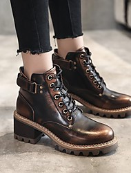 cheap -Women's Boots Block Heel Round Toe Buckle PU Booties / Ankle Boots Vintage / Minimalism Spring &  Fall / Fall & Winter Black / Brown / Coffee