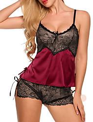 abordables -Femme Costumes Vêtement de nuit Dentelle, Géométrique Noir Vin Blanche S M L