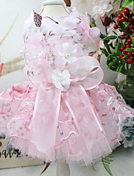 cheap -Dog Outfits Dress Flower Wedding Wedding Party Dog Clothes Pink Costume Polyster S M L XL