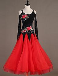 cheap -Ballroom Dance Dresses Women's Training / Performance Spandex / Elastane / Tulle Embroidery / Crystals / Rhinestones Long Sleeve Dress