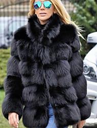 abordables -Femme Quotidien Normal Manteau de fausse fourrure, Couleur Pleine Mao Manches Longues Fausse Fourrure Noir / Gris Clair / Blanche