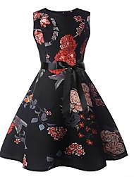 cheap -Kids Girls' Active Sweet Floral Sleeveless Knee-length Dress Black