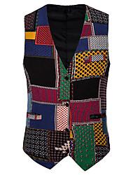 cheap -Men's Vest Shawl Lapel Cotton Rainbow