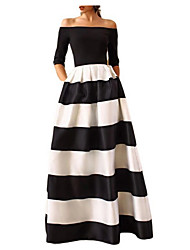cheap -Women's A Line Dress - Striped Black S M L XL