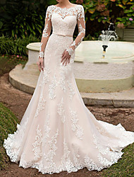 cheap -Mermaid / Trumpet Bateau Neck Sweep / Brush Train Lace Long Sleeve Beach See-Through Made-To-Measure Wedding Dresses with Sashes / Ribbons 2020