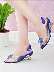 cheap -Women's Sandals Flat Heel Peep Toe Patent Leather Summer Black / White / Yellow