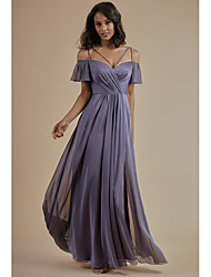 cheap -A-Line Spaghetti Strap Floor Length Chiffon Bridesmaid Dress with Beading / Split Front / Open Back
