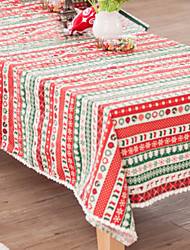 cheap -Casual polyester fibre Square Table Cloth Striped Christmas Table Decorations