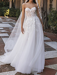 cheap -A-Line Sweetheart Neckline Sweep / Brush Train Tulle Strapless Made-To-Measure Wedding Dresses with Appliques 2020