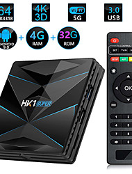cheap -HK1 SUPER Smart TV Box Android 9.0 Rockchip RK3318 Quad Core 64 4K 4GB 32GB 2.4G 5G WiFi BT4.0 HD Media Player