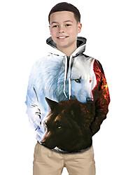 abordables -Enfants Bébé Garçon Actif Basique Loup Géométrique Imprimé Bloc de Couleur Imprimé Manches Longues Pull à capuche & Sweatshirt Blanche / Animal