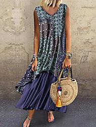 cheap -Women's Chiffon Dress - Color Block Print Light Blue Blue Red M L XL XXL