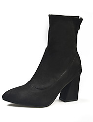 cheap -Women's Boots Chunky Heel Pointed Toe Faux Leather Booties / Ankle Boots Casual Fall & Winter Black