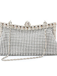 cheap -Women's Beading / Crystals Synthetic / Alloy Evening Bag Solid Color Black / Gold / Silver